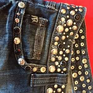 Miss Me size 28 black denim with Extreme Bling!